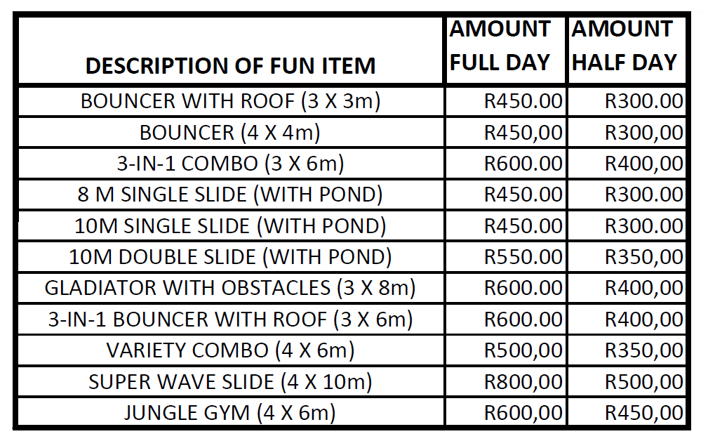 Rates for Jumping Castles and Slides Hire in Gordons Bay, Strand, and Somerset West